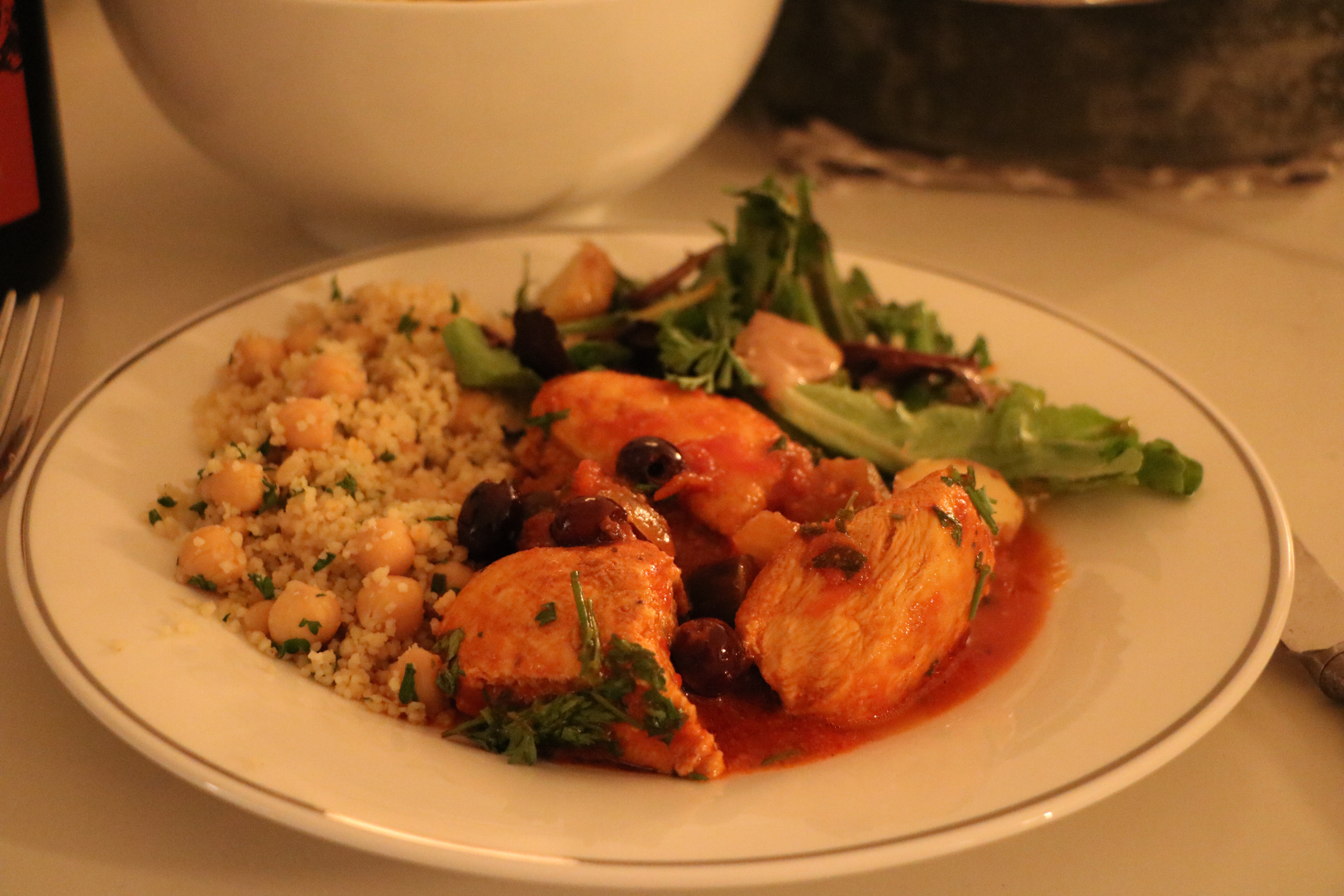 Spicy Moroccan Chicken & Eggplant Stew + Pine Nut Cous Cous